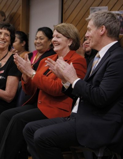 Ros Giffney, Sistema Programme Manager and Diane Maloney, Chair of Sistema Aotearoa Trust, with PM